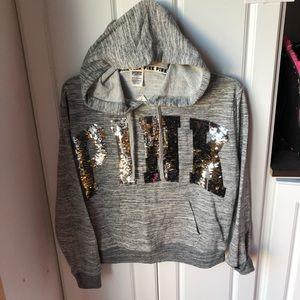 NWT Victoria Secret pink silver bling hoodie XS
